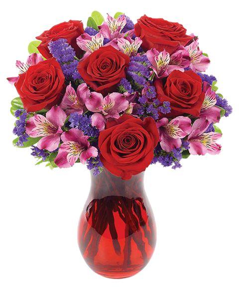 Mazzo Di Fiori Viola.Bouquet Romantico Di Rose Rosse Alstroemeria Rosa E Fiori Viola