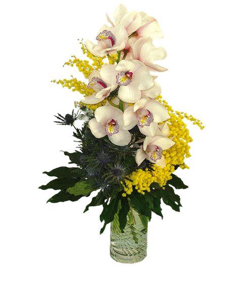 Mazzo Di Fiori Orchidee.Mazzo Di Mimosa Con Ramo Di Orchidea Cymbidium Bianco Rosa E Verde